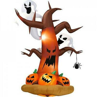 Halloween Decor - 8' Tall Inflatable Dead Tree with Ghost & Pumpkins