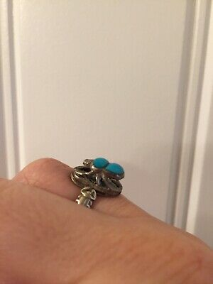 Turquoise scarab sterling silver Egyptian ring