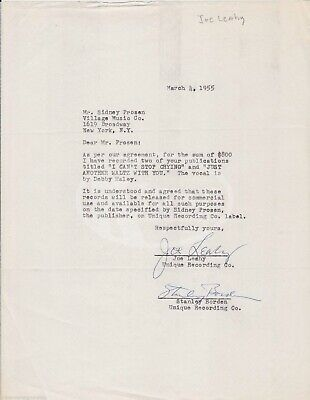 Joe Leahy Music Producer Trumpeter Vintage Autograph Signed Music Contract 1955