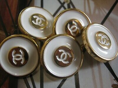 CHANEL 5 BUTTONS lot of 5  sz 18mm  WHITE GOLD  cc logo, FIVE PC
