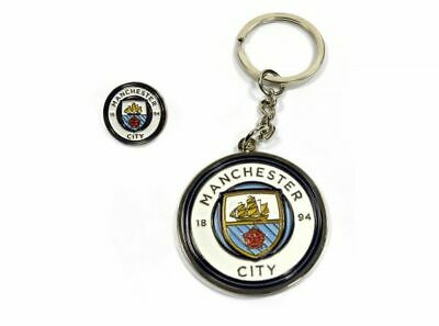 Official Licensed Manchester City FC Crest Keyring & Badge Set - One Size