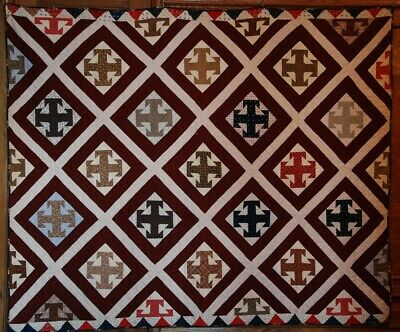 ANTIQUE TEMPERANCE QUILT c1900 ~ HISTORY ~ Great Fabrics, Great Condition