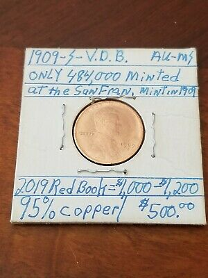 1909 S VDB Lincoln Cent Penny - AU MS Condition - Beautiful coin * read descript