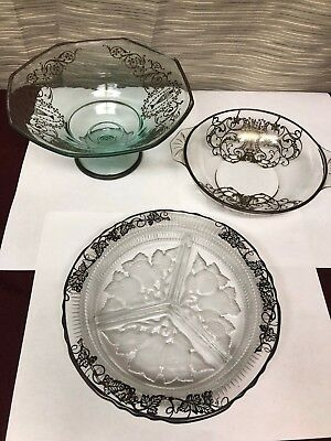 Lovely Vintage Glass With Silver Inlaid Set
