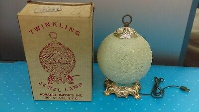 Vintage Mid Century Modern 1950's Twinkling Jewel Colored Table Lamp New In Box