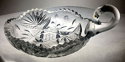 ABP American Brilliant Cut Crystal Glass Handled Candy Nappy Dish Plate Bowl 6""