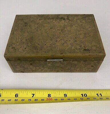 Antique CHINA Brass Cigarette Trinket Jewelry Box wood lined floral pattern