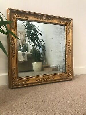 Beautiful French Antique Gilded Mirror, Heavily Foxed Patina Glass