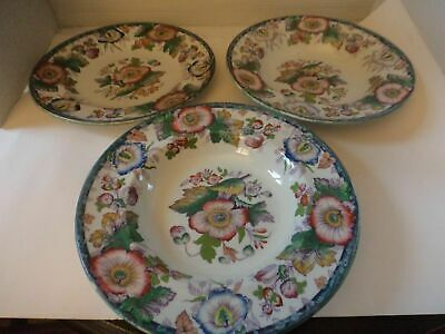 ceramic tableware vintage 2 dishes + 1 plate hand finished floral matching