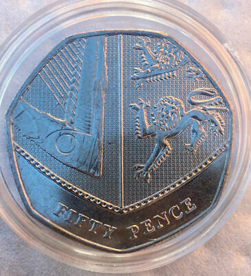 Rare 50p fifty pence coin Shield of Royal Arms 2017 Uncirculated In Capsule