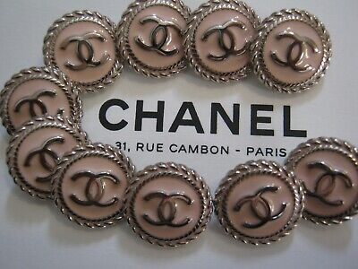 CHANEL BUTTONS lot of 10  Light pink 14 mm over 1/2 inch metal with cc logo