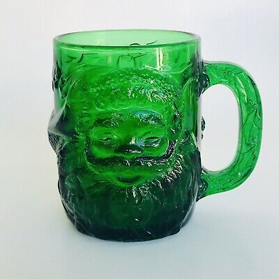 Vintage Arcoroc Emerald Green Glass Santa Claus & Holly Mug Coffee Cup France 4""