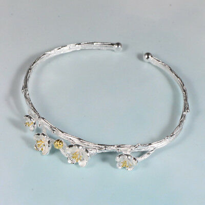 H01 Bangle Twig with Flowers Sterling Silver 925 Bracelet