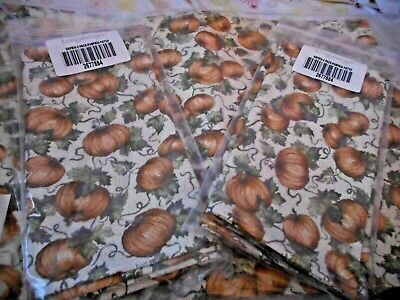 New Set of 4 Longaberger Autumn Pumpkin Patch Fall Placemats & 4 Matching Napkin