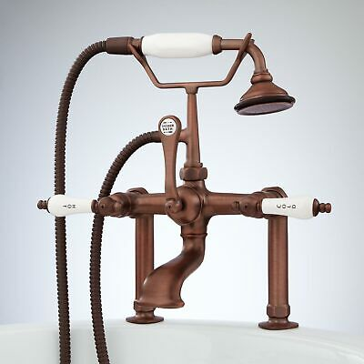 "Deck Mount Faucet Porcelain Lever Handles in 4"" Couplers in Antique Copper"