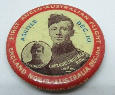 Vintage Tin Badge First Anglo - Australian Flight Capt. Ross Smith Lt Keith