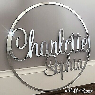 Personalised Acrylic Name Hoop Gold, Rose Gold & Silver, Party Sign, Laser Cut