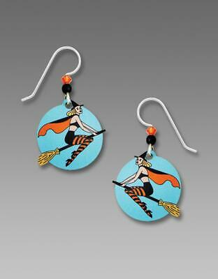 Sienna Sky Blue Disc Earrings Sterling Silver Hook Pretty Witch Broom Halloween