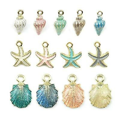 13Pcs/Set Mixed-Starfish Conch Shell Metal Charms Pendant DIY Jewelry Making