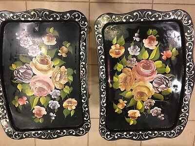 Set Of 2 Vintage Shabby Tole Painted Floral Rose Black Metal Folding TV Trays