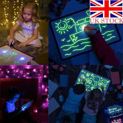 Glowing Paint Light Draw Tablet Fun Developing Toy Drawing Writing Board Gift UK