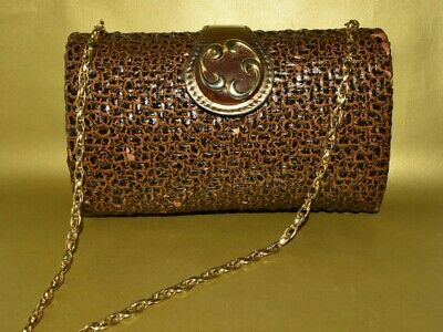 RODO Rich Brown Animal Print Lacquered Wicker Shoulder Bag with Gold Chain Strap