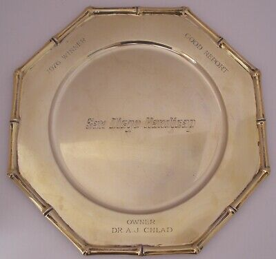 Tiffany Gilt Sterling Bamboo San Diego Handicap Horse Racing Trophy Plate