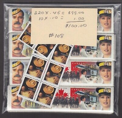 Canada Mint Postage Lot $100.00 Mnh Face For $70.00 See List #108