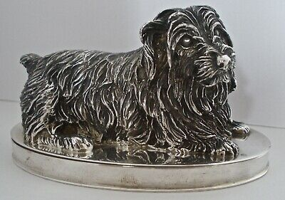 Fantastic Quality English Sterling Figural Scottie Or Westie Dog 2 Piece Box