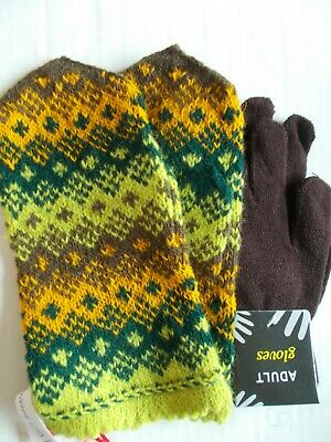 Latvian hand knitted 100% wool mittens, green/yellow/brown (size M/L)