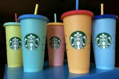 Starbucks Reusable COLOR CHANGING Cold Cup Pack of 5 Collection Lids Straws 24oz