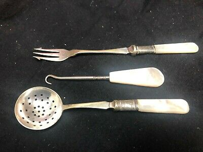 Vintage Fork and Spoon set, EPNS, (silver plate) mother of pearl handles,gd - vg