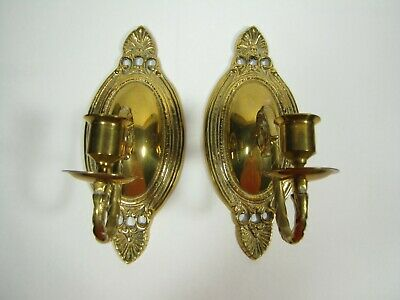 2 Vintage Brass Sconces Candle Holders Wall Decor Tapers Korea