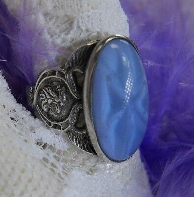 Vtg. Blue Star Sapphire type Carved Glass Wing Set .925 Sterling Silver Size 5.5