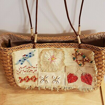 1970s Kitsch Wicker Embroidered Taffeta Fancy Dress Bag VGC