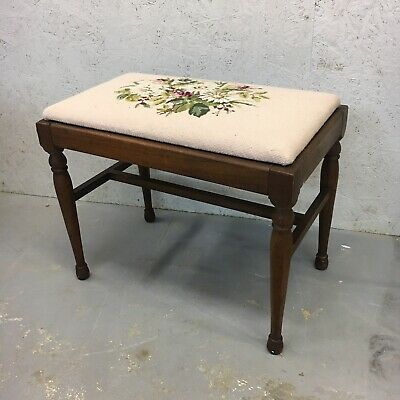 Antique Wooden Piano Bench Stool Knit Cushion Victorian Vintage