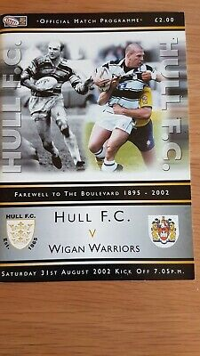 Rugby League Programme Hull F.C. v Wigan Warriors  31st August 2002