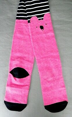 New Girls Next Tights 2-3 Yrs Navy White Pink Koala Stripe Christmas Winter Top