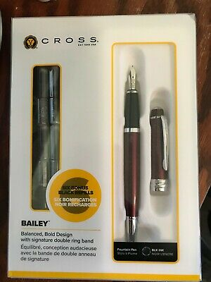 NEW CROSS Bailey Red Fountain Pen with 6 Refills
