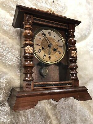 Vintage Antique Germany Or Usa Wall And Stand Clock W Walnut  Case