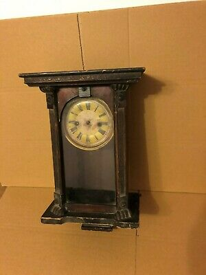 Vintage Wall Clock Wooden Casing With Glass Door & Mechanism