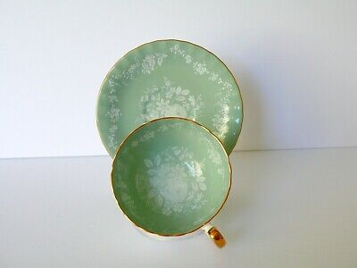 Aynsley Turquoise Green White Roses Cup & Saucer Set