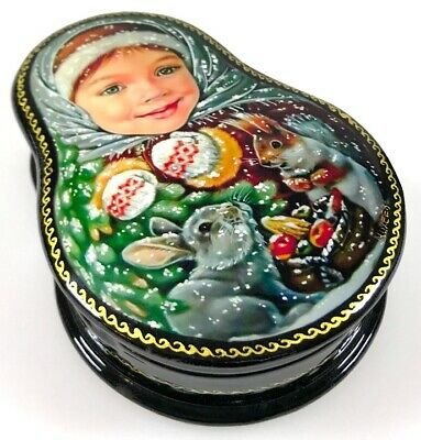 Russisches Mädchen - Russische Schatulle Russian lacquer box Lackdose KIND15