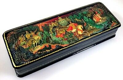 Ilja Muromets - Russische Schatulle Russian Lacquer box Lackdose Palekh MYTH14