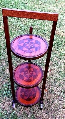 """Vintage 3-Tier Solid Wood Inlaid Folding Table (Pie Stand) 35 ¼"""" Tall"""