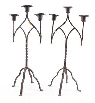 Pair Vintage Wrought Iron Gothic Style 3 Arm Candle Stick Holder Candelabra