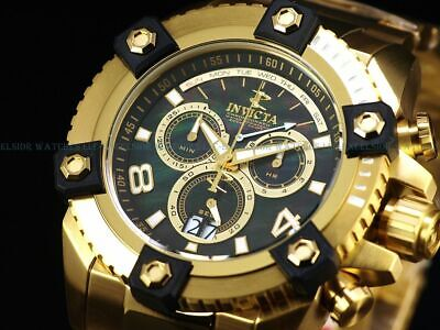 Invicta Mens 63mm Grand Arsenal Swiss Chronograph Black MOP Dial 18K GP SS Watch
