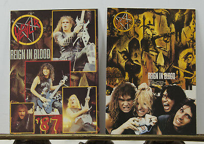 Rare Set of 2 - Slayer Reign in Blood 1987 Promo Postcards Thrash Speed-Metal