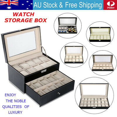 6/10/12/20/24 Faux Leather Watch Case Display Box Storage Jewellery Glass Top AU