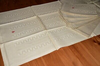 6 Old Linen Damast Towels Kitchen Towels Woven Pattern Monogram Gt